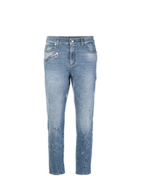 Синие рваные джинсы скинни от Versace Jeans