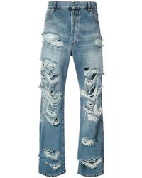 Мужские синие рваные джинсы от Balmain