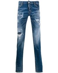 Мужские синие рваные джинсы от DSQUARED2