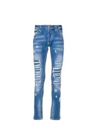 Мужские синие рваные джинсы от Philipp Plein