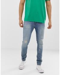 Мужские синие рваные зауженные джинсы от ASOS DESIGN