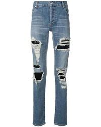 Мужские синие рваные зауженные джинсы от Balmain