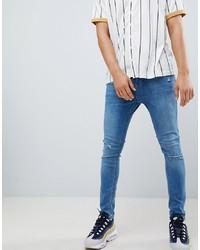 Мужские синие рваные зауженные джинсы от Bershka