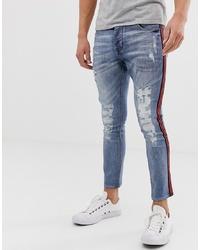Мужские синие рваные зауженные джинсы от Brave Soul