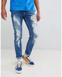 Мужские синие рваные зауженные джинсы от Brooklyn Supply Co.