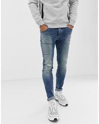 Мужские синие рваные зауженные джинсы от Chasin'