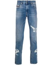 Мужские синие рваные зауженные джинсы от Diesel