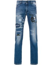 Мужские синие рваные зауженные джинсы от Fendi