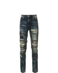 Мужские синие рваные зауженные джинсы от God's Masterful Children