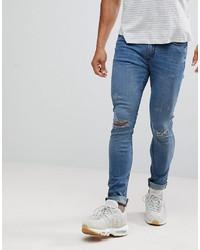 Мужские синие рваные зауженные джинсы от Hoxton Denim