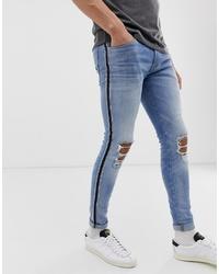 Мужские синие рваные зауженные джинсы от Jack & Jones