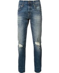 Мужские синие рваные зауженные джинсы от R 13