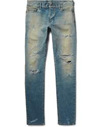 Мужские синие рваные зауженные джинсы от Saint Laurent
