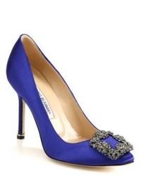 Синие сатиновые туфли с украшением