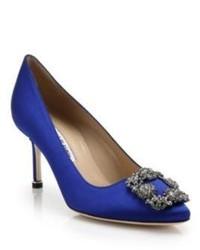 Женские синие сатиновые туфли с украшением от Manolo Blahnik