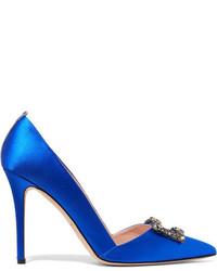 Синие сатиновые туфли с украшением от Sarah Jessica Parker