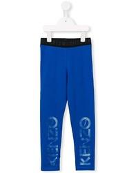 Детские синие спортивные штаны с принтом для девочке от Kenzo