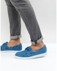 Синие топсайдеры из плотной ткани от Armani Jeans