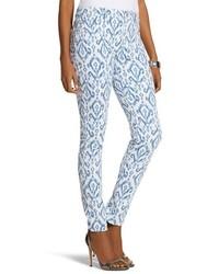 Синие узкие брюки с принтом