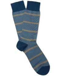 Мужские синие шерстяные носки в горизонтальную полоску от Pantherella