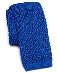 Синий вязаный галстук