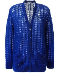 Женский синий вязаный кардиган от Saint Laurent