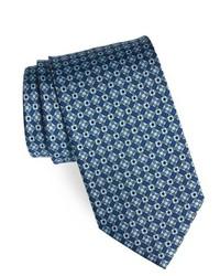 Синий галстук с геометрическим рисунком