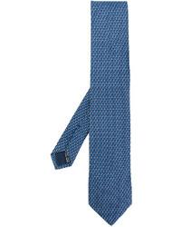 Мужской синий галстук с принтом от Salvatore Ferragamo