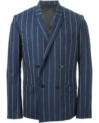 Синий двубортный пиджак в вертикальную полоску