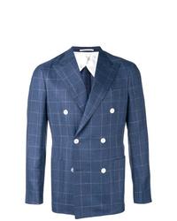 Мужской синий двубортный пиджак в клетку от Barba