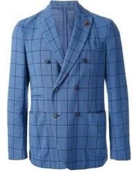 Синий двубортный пиджак в шотландскую клетку