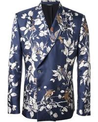Мужской синий двубортный пиджак с цветочным принтом от Dolce & Gabbana