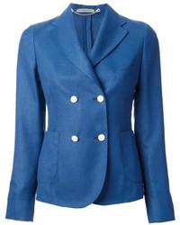 Синий двубортный пиджак