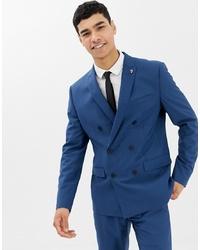 Мужской синий двубортный пиджак от Farah Smart