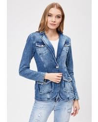 Женский синий джинсовый пиджак от DSHE
