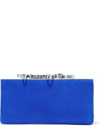 Женский синий замшевый клатч от Jimmy Choo