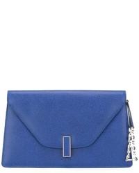 Женский синий кожаный клатч от Valextra