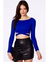 Синий короткий свитер