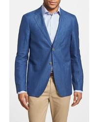 Синий льняной пиджак