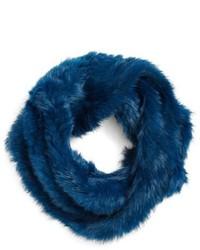 Синий меховой шарф