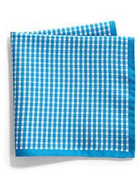 Синий нагрудный платок в мелкую клетку