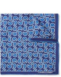 "Синий нагрудный платок с ""огурцами"" от Turnbull & Asser"