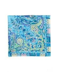 Синий нагрудный платок с принтом