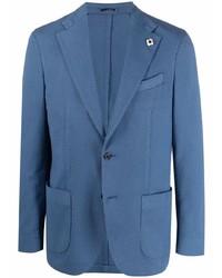 Мужской синий пиджак в клетку от Lardini