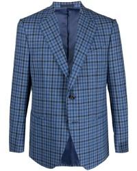 Мужской синий пиджак в мелкую клетку от Caruso