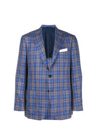 Мужской синий пиджак в шотландскую клетку от Kiton