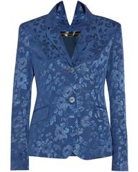 Синий пиджак с цветочным принтом