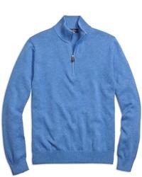 Синий свитер с воротником на молнии