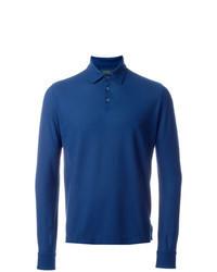 Синий свитер с воротником поло