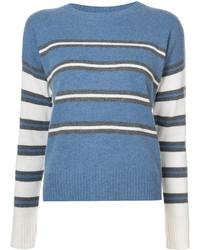 Синий свитер с круглым вырезом в горизонтальную полоску